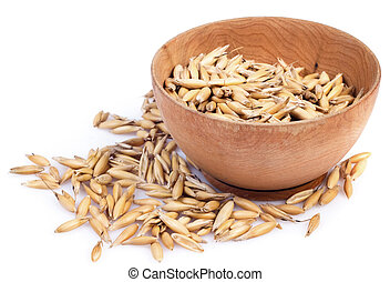 oats in the wooden saucer - handful of crops of oats in the...