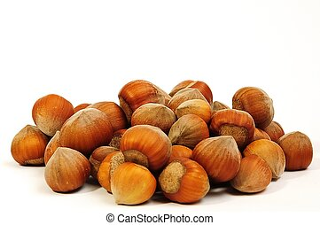 handful of fresh hazelnuts on a white background closeup