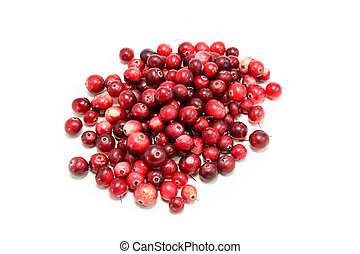 handful of freshly cranberries on a white background