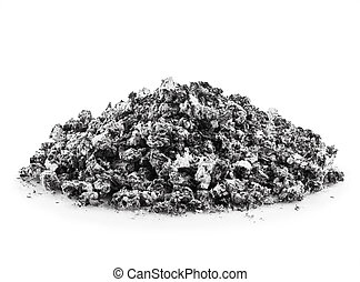 gray ash  - handful of gray ash on white background