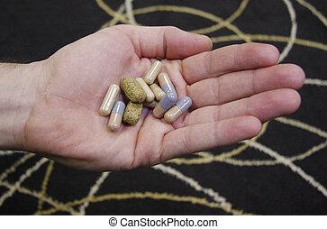 A handful of pills.