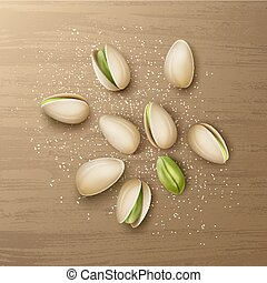 Handful of pistachio nuts - Vector realistic handful of ...