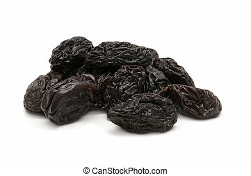 handful of raisins isolated on white background