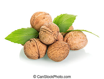 Handful of raw walnuts isolated on white background