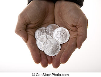 Handful of Silver Liberty Coins