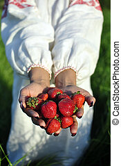 handful of strawberries in hands