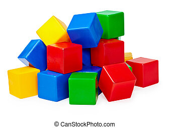 Handful of toy blocks on white background