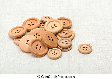 Handful of wooden buttons