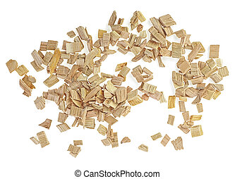 Handful of wooden chips for smoking isolated on a white background, top view.