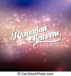 handgeschrieben, ramadan, kareem, retro, etikett, auf, glänzend, hintergrund
