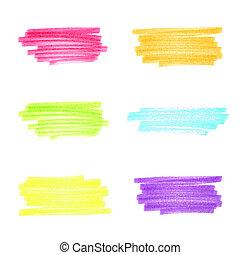 handgjord, markör, stripes, sätta, 1