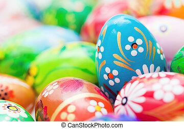 handgjord, påsk eggar, collection., fjäder, mönster, konst, unique.
