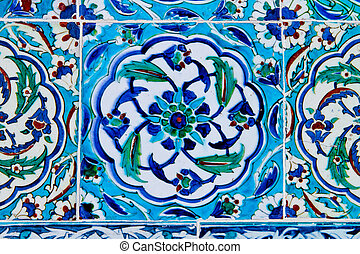 handgjord, traditionell, turkisk, blå tegelpanna vägg