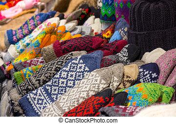 handgjord, varm, kläder, till salu, hos, jul, marknaden