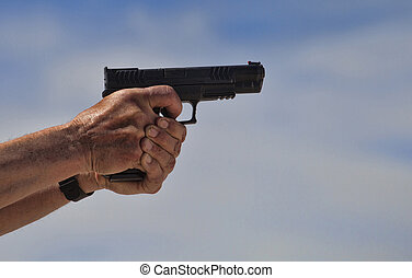 Handgun about to be shot