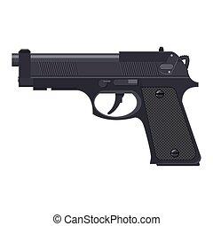 handgun., arma de fuego, automático, pistola, moderno