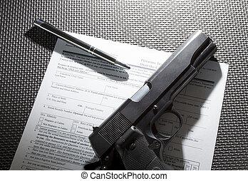 Handgun being sold
