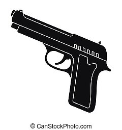 Handgun icon in black style isolated on white background. Police symbol stock vector illustration.