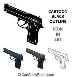 Handgun icon in cartoon style isolated on white background. Police symbol stock vector illustration.