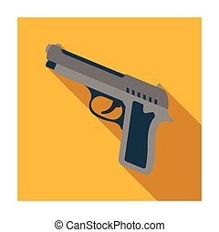 Handgun icon in flat style isolated on white background. Police symbol stock vector illustration.