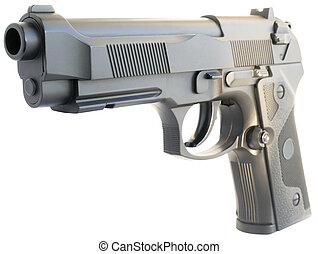 Handgun isolated on white - Replica steel handgun isometric...