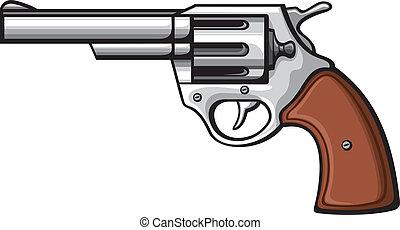 handgun-old revolver - handgun (pistol vector, pistol gun, ...