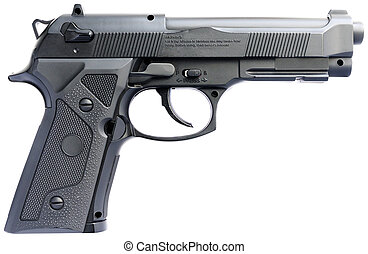 Handgun over white - Replica steel handgun isolated on the...