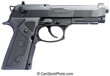 Handgun over white - Replica steel handgun isolated on the...