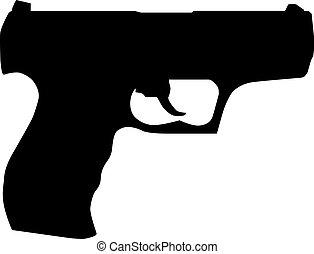 Handgun pistol silhouette isolated on white