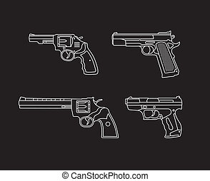 Handgun. Pistols and Revolvers - set of vector icons. Isolated on black background.