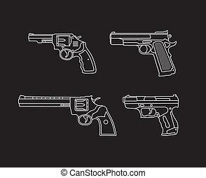 Handgun. Pistols and Revolvers - set of vector icons....