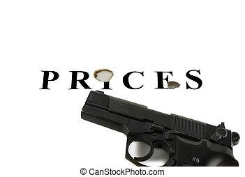 Handgun raked inscription of