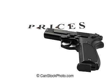 Handgun raked inscription