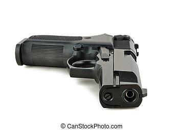 Handgun - vintage handgun isolated on white background...