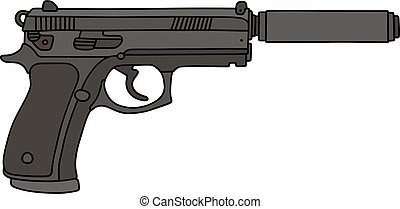 silencer pistol silhouette of pistol with silencer fitted