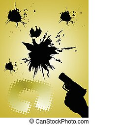 handgun with abstract background