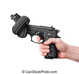 Handgun with knot - Man holding a gun with knot on white...