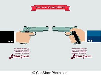handguns, infographic, dois, segurar passa