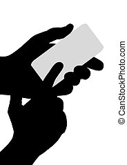 Handheld device - Illustrated Silhouette pair of hands...