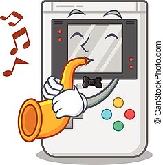 Handheld game Scroll cartoon character design performance with trumpet