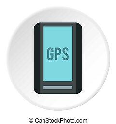 Handheld GPS icon, flat style