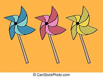 Handheld Paper windmill on Sticks or Pinwheel Origami Vector Illustration