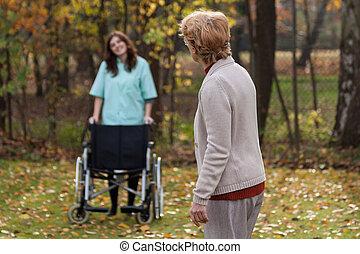 handicapé, à, infirmière, sur, a, air frais
