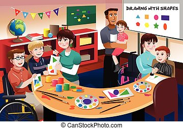 handicapé, étudiants, classe
