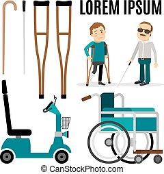 handicapé, accessoires, gens