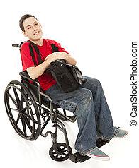 handicapé, adolescent, corps plein, garçon