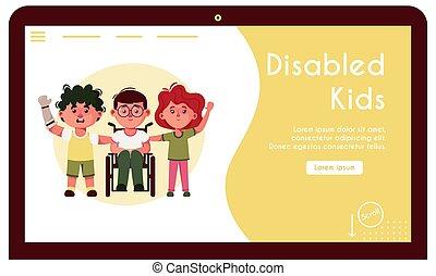 handicapé, amis, gosses, vecteur, bannière, illustration