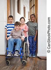 handicapé, amis, pupille, sien