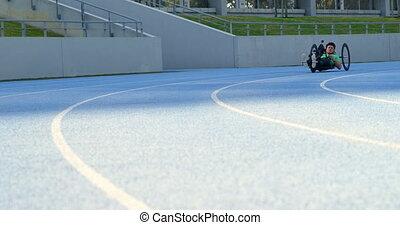 handicapé, athlète fauteuil roulant, courses, 4k