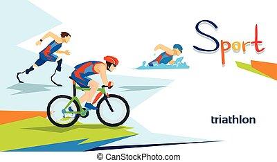 handicapé, athlètes, triathlon, marathon, sport, concurrence